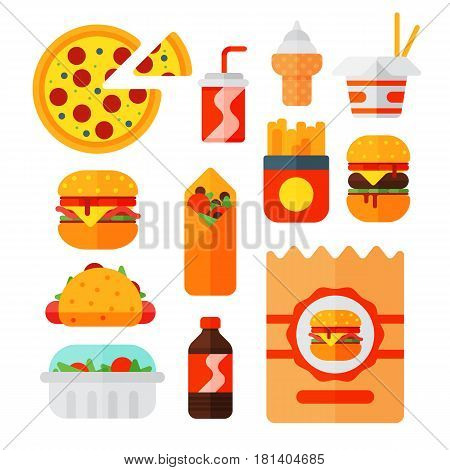 Set of colorful cartoon fast food icons isolated restaurant tasty american cheeseburger meat and unhealthy burger meal vector illustration. Junk drink snack french fried dinner eating.