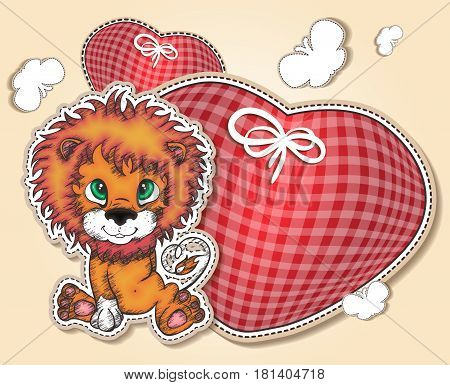 Postcard with little lion cub and soft heart