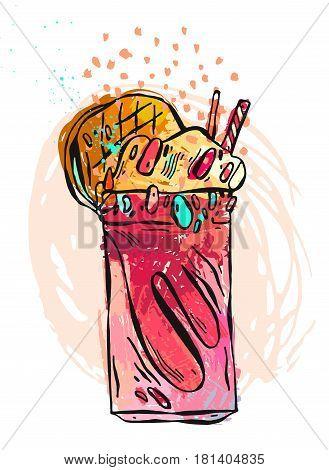Hand drawn vector textured illustration of milkshake.Design for kids menu, birthday, sweet shop, milkshake cafe, store, milk shake party, dessert menu.