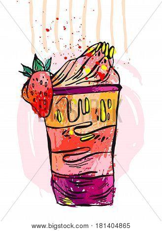 Hand drawn vector illustration of milk shake.Design element for kids menu, children birthday party, sweet shop, cafe.Fruit smoothie.