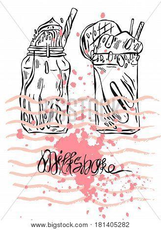 Hand drawn vector textured card of milkshake.Design for kids menu, birthday, sweet shop, milkshake cafe, sweet store, healthy juice diet.