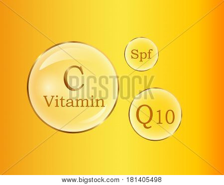 C and Q10 vitamins, Spf round signs vector poster on yellow background. Nutrition healthy emblems concept. Power of vitamin C and Q10, use of Spf. Chemical formulas of vitamins in flat design