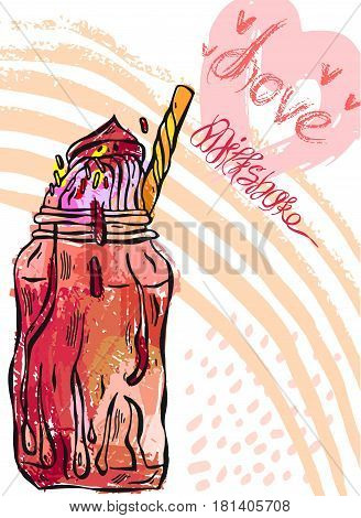 Hand draw vector card of milkshake.Design for kids menu, birthday, sweet shop, milkshake cafe, sweet store, dessert menu.Card template.Sweet background