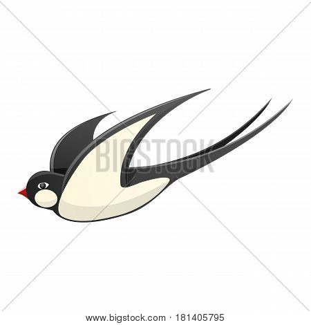 Spring cartoon black and white swallow with red beak in motion isolated on white background. Bird spread wings and fly vector illustration. Symbol of beginning of spring and warm sunny weather.
