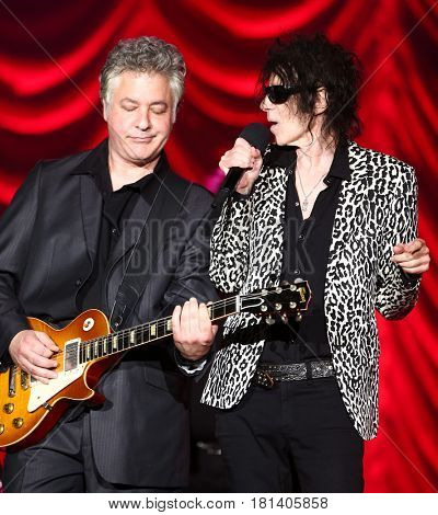 HUNTINGTON, NY-AUG 30: Singer Peter Wolf (R) and Duke Levine of the J. Geils Band performs onstage at The Paramount on August 30, 2015 in Huntington, New York.