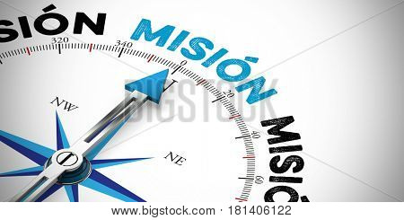 Arrow points to spanish word mision (mission) on compass (3D Rendering)