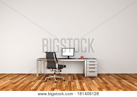 Desk with monitor as home office or study room concept (3D Rendering)