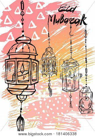 Eid Mubarak letteringhand draw abstract greeting background.Eid backgroundeid greetings cardeid cardshiny lampseid celebrationeid al adha.