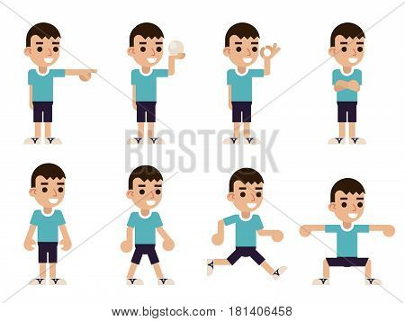 Boy Different Poses and Actions Characters Icons Set Isolated Flat Design Vector Illustration