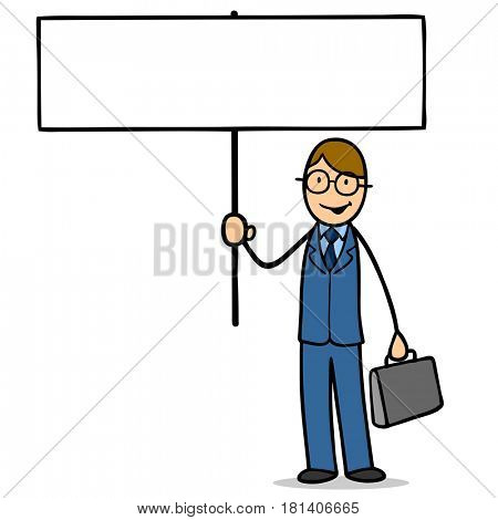 Cartoon of business man holding blank sign for advertising or requests