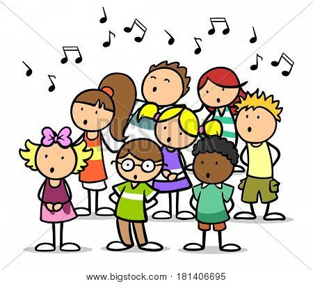 Cartoon choir of children singing song as music school concept