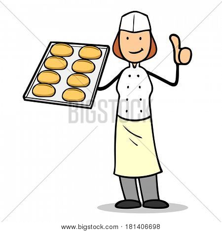 Cartoon of woman as baker with thumbs up holding buns on tray