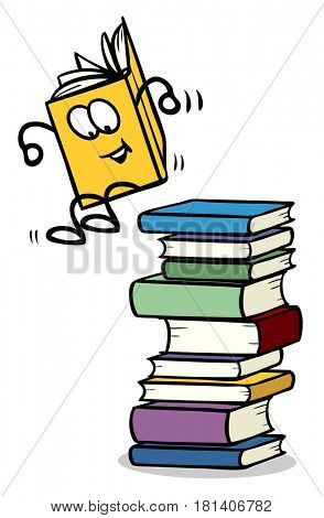 Funny book cartoon character jumping from stack of books
