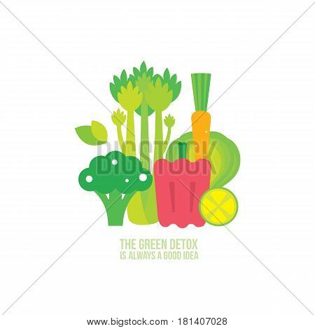 Broccoli Celery Carrot Lemon Lime Spinach Healthy and delicious food Vector illustration