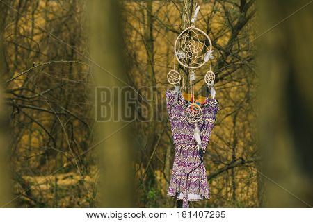 On the tree hanging dreamcatcher a woman's dress. Indie style.