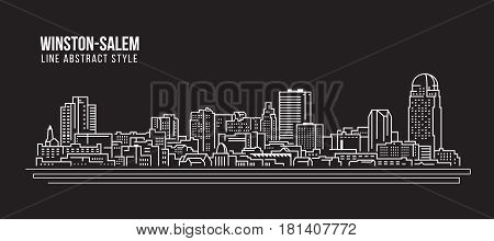 Cityscape Building Line art Vector Illustration design - winston-salem city