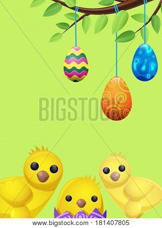 Set of easter chicken and suspended color eggs isolated on green. Three multicolor balls tied on tree branch. One poult sits in purple shell. Vector illustration flat design drawn pattern for web.
