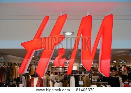 HONG KONG - CIRCA NOVEMBER, 2016: close up shot of H & M sign. H & M Hennes & Mauritz AB is a Swedish multinational retail-clothing company, known for its fast-fashion clothing.