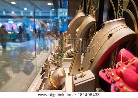 HONG KONG - CIRCA NOVEMBER, 2016: a display window in a jewellery store. A jewellery store is a retail business establishment, that specializes in selling jewellery and watches