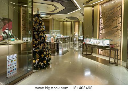 HONG KONG - CIRCA NOVEMBER, 2016: inside a jewellery store. A jewellery store is a retail business establishment, that specializes in selling jewellery and watches