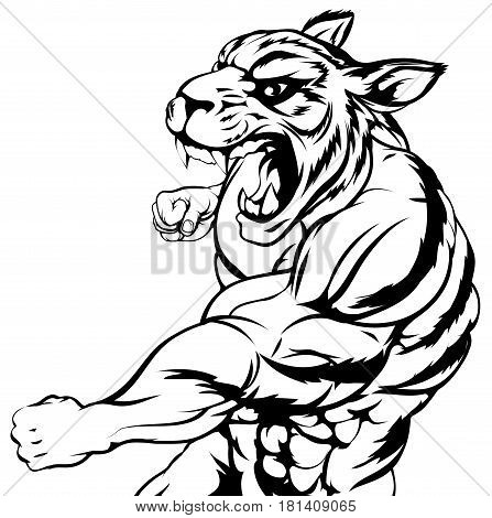 An illustration of a mean looking tiger animal sports mascot punching