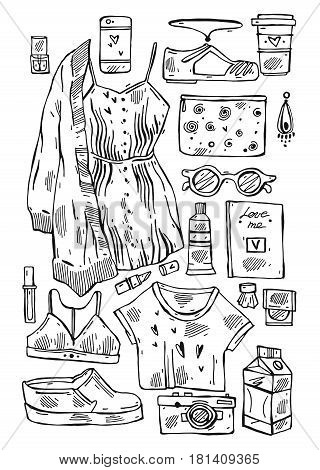 Hand drawn vector illustration set of girls stuff isolated on white.Collection of woman things.Lookbook.Vogue fashion journaling illustration of underwear, sun glasses, dress, women's shoes, cardigan