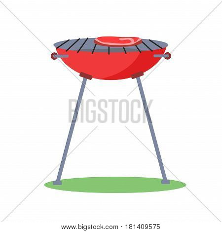 Classic grill with steak on cooking grades icon. Red charcoal grill with piece of meat on grid flat vector isolated on white background. Cooking traditional BBQ food illustration for picnic concepts