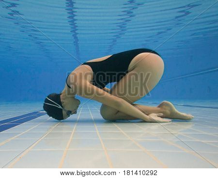 Woman In The Pool, Blue Background, Underwater Shoot, Inside The Pool