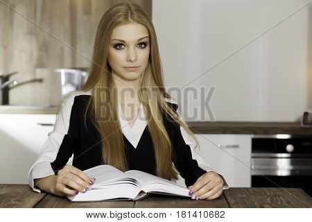 Close up portrait of beauty attractive smile clever student woman reading book on table