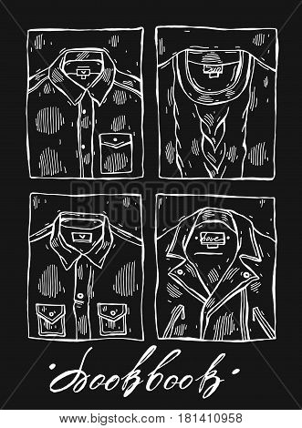 Hand drawn lined vector illustration set of men clothes isolated on black.Illustrations of Leather Jacket, shirt, jaket, pullover, cardigan.Men look book.Male fashion illustration collection.Men outfit