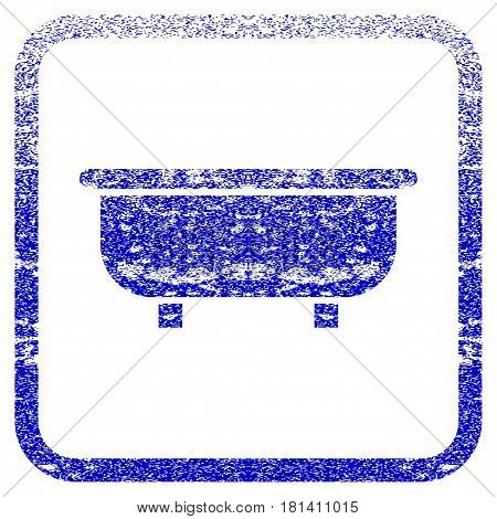 Bathtub textured icon for overlay watermark stamps. Blue vectorized texture. Flat vector symbol with dust design inside rounded square frame. Framed blue rubber seal stamp imitation.