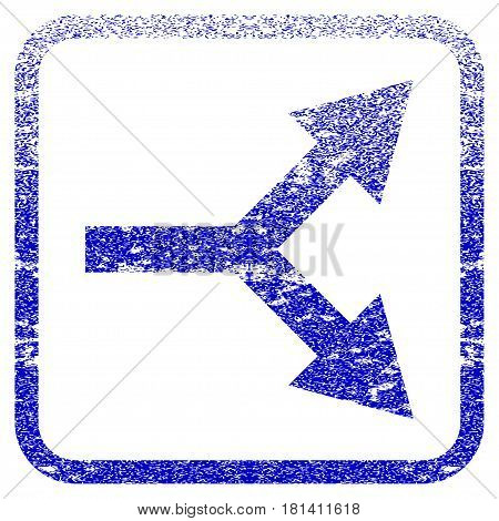 Bifurcation Arrow Right textured icon for overlay watermark stamps. Blue vectorized texture. Flat vector symbol with dust design inside rounded square frame. Framed blue rubber seal stamp imitation.