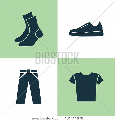 Clothes Icons Set. Collection Of Pants, Half-Hose, Sneakers And Other Elements. Also Includes Symbols Such As Casual, Shirt, Garment.