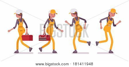 Set of female professional busy service worker in running, walking pose, wearing yellow overall, holding toolbox, smiling and unhappy, full length, front, rear view, isolated, white background