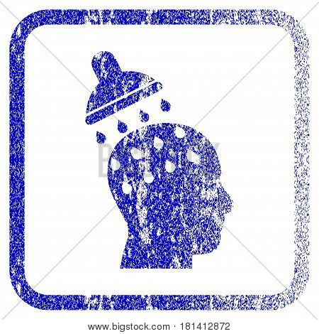 Brain Washing textured icon for overlay watermark stamps. Blue vectorized texture. Flat vector symbol with dirty design inside rounded square frame. Framed blue rubber seal stamp imitation.