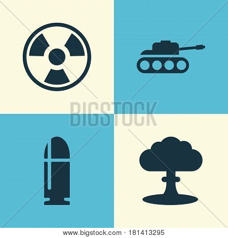 Army Icons Set. Collection Of Panzer, Atom, Dangerous And Other Elements. Also Includes Symbols Such As Slug, Tank, Hazard.