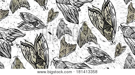 Butterfly and moth hand drawn seamless pattern on white. Elegant design modern pattern.Grunge texture.Dark romance love occultism alchemy magic mysticism.