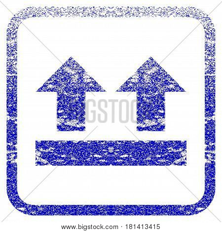 Bring Up textured icon for overlay watermark stamps. Blue vectorized texture. Flat vector symbol with dust design inside rounded square frame. Framed blue rubber seal stamp imitation.