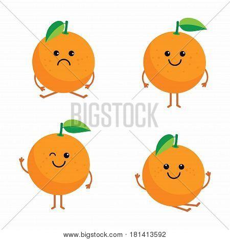 set cartoon oranges orange cartoon character set with different emotions and poses orange isolated on white background