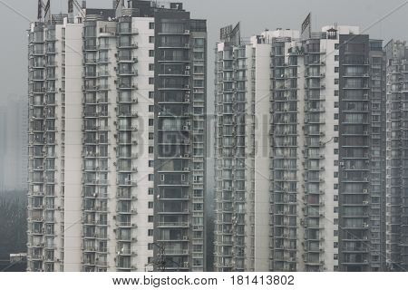 patternof crowded residential towers and high housing density in beijing