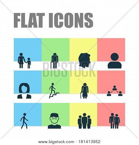 Person Icons Set. Collection Of Family, Ladder, Old Woman And Other Elements. Also Includes Symbols Such As Couple, Child, Social.