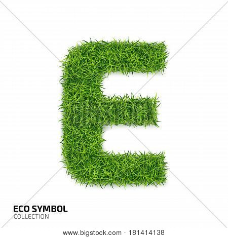 Letter of grass alphabet. Grass letter E isolated on white background. Symbol with the green lawn texture. Eco symbol collection. Vector illustration