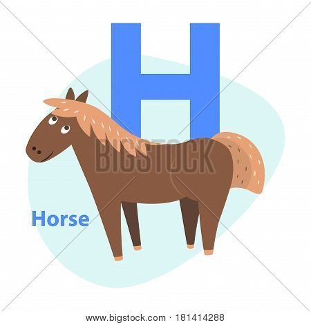 Cute brown horse on alphabet icon flat design on white background. Big letter H above cheerful equine in cartoon style. Vector illustration of primary or preschool education graphic figure for web.