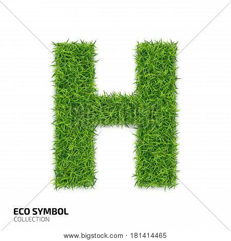 Letter of grass alphabet. Grass letter H isolated on white background. Symbol with the green lawn texture. Eco symbol collection. Vector illustration