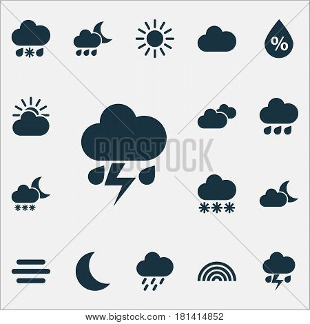 Nature Icons Set. Collection Of Haze, Cloudy, Rainy And Other Elements. Also Includes Symbols Such As Humidity, Sleet, Light.