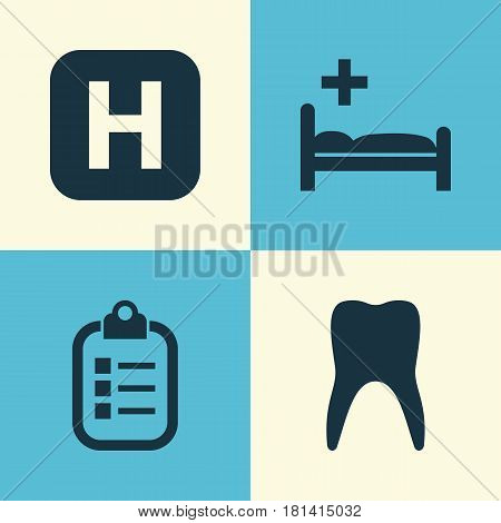 Medicine Icons Set. Collection Of Hospital, Mark, Dental And Other Elements. Also Includes Symbols Such As Clinic, Infirmary, Polyclinic.
