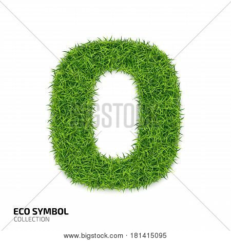 Letter of grass alphabet. Grass letter O isolated on white background. Symbol with the green lawn texture. Eco symbol collection. Vector illustration
