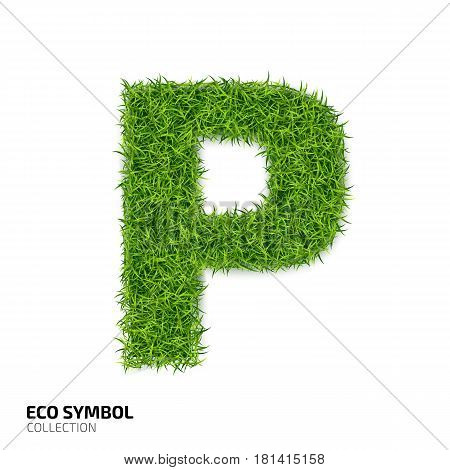 Letter of grass alphabet. Grass letter P isolated on white background. Symbol with the green lawn texture. Eco symbol collection. Vector illustration