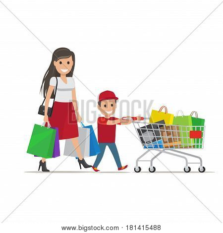 Family out on Shopping. Mother with bags goes besides her son who pushes shopping trolley full of purchases. Cartoon family has fun during shopping vector illustration from shopping collection.