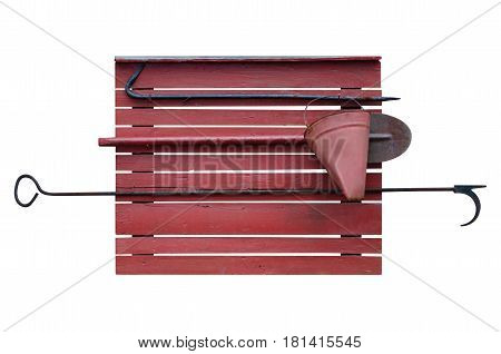 Fire shield red with bucket shovel and hook  isolation